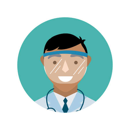 doctor with stethoscope and face glass protection block and flat style vector illustration design Stock fotó - 155008707