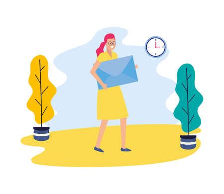 businesswoman holding envelope mail clock business work vector illustration