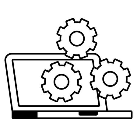 laptop computer settings gears icon vector illustration Stock fotó - 155008816