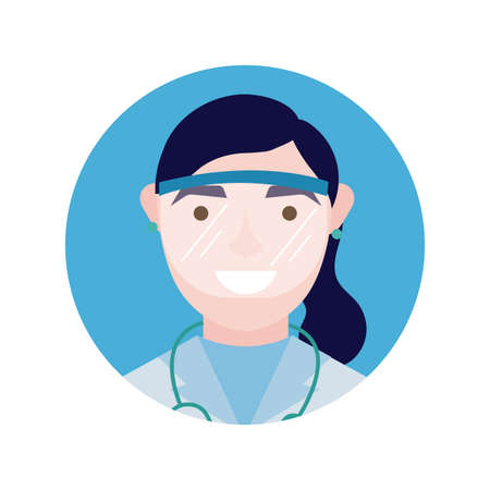 female doctor with stethoscope and glass protection block and flat style vector illustration design Stock fotó - 155008880
