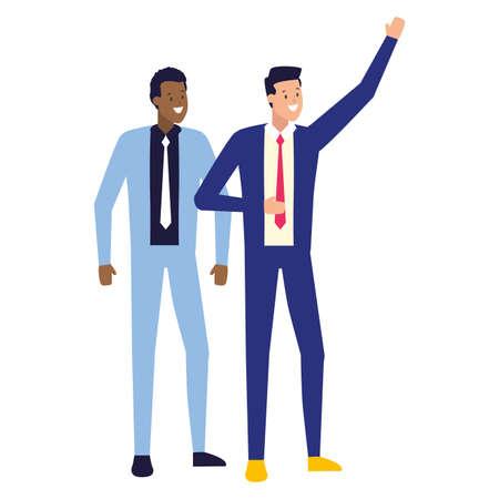 business men avatar character on white background vector illustration Illusztráció