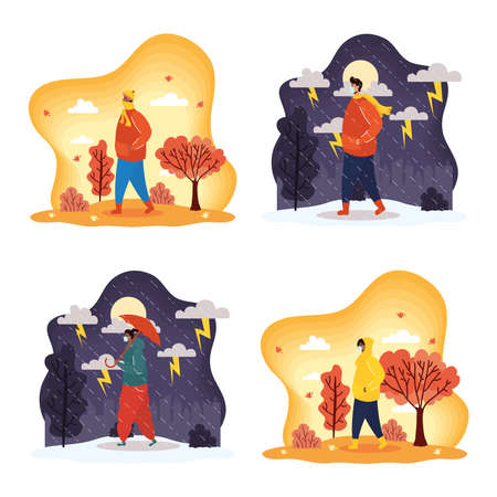interracial young people wearing medical masks in seasonal scenes vector illustration design Stock fotó - 155009098