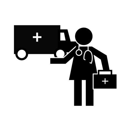 doctor with ambulance health pictogram silhouette style vector illustration design Stock fotó - 155009107