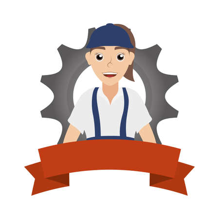 female young mechanic worker with gear and ribbon vector illustration design Stock fotó - 155009201