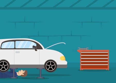 man mechanic working in car character vector illustration design Stock fotó - 155009342