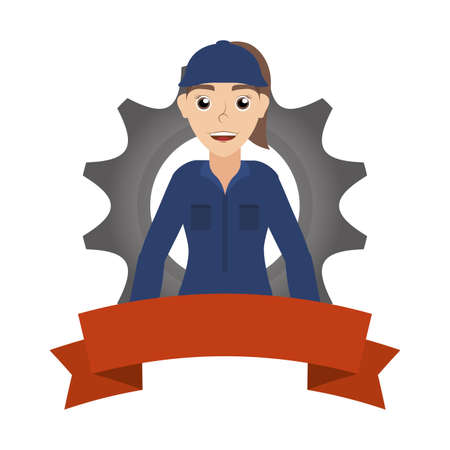 female young mechanic worker with gear and ribbon vector illustration design Stock fotó - 155009419