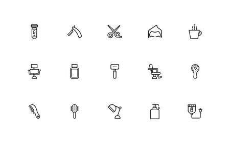 bundle of barber shop set line style icons vector illustration design Stock fotó - 155009431