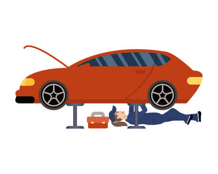 female young mechanic working in car character vector illustration design Stock fotó - 155009649