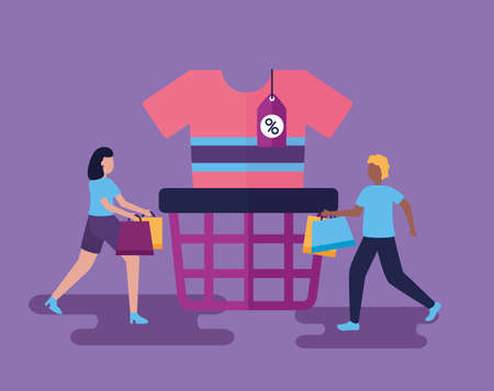 girl and boy shopping bags clothes vector illustration Vektorové ilustrace