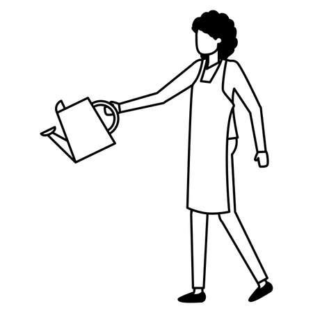 gardener woman with watering can work gardening design vector illustration