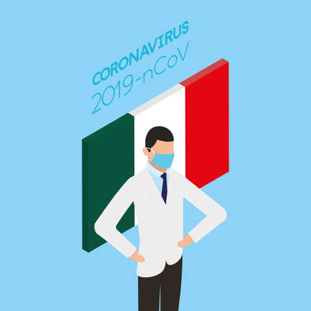 professional doctor using face mask with italy flag vector illustration design Stock fotó - 155010000