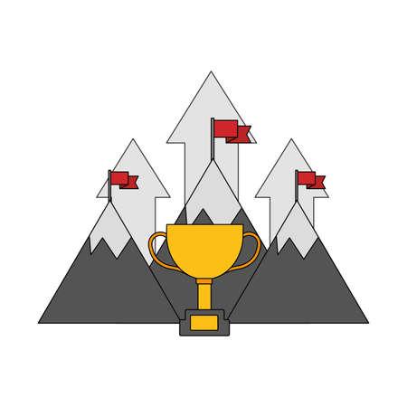 mountains flags arrows trophy success business vector illustration