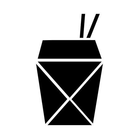 chinese food in box silhouette style icon vector illustration design