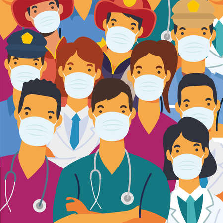 young doctors staff wearing medical masks characters vector illustration design Stock fotó - 155005545