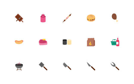 bundle of bbq set icons vector illustration design