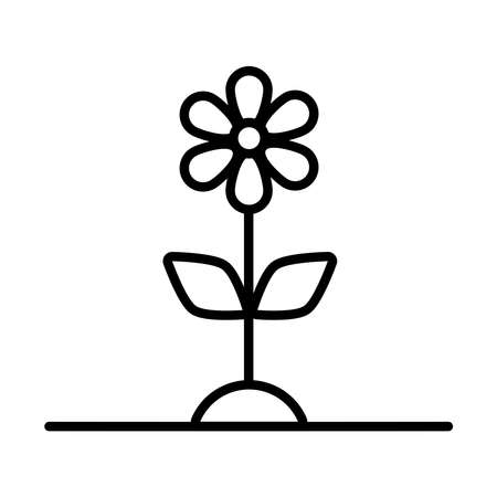 flower growth plant line style icon vector illustration design
