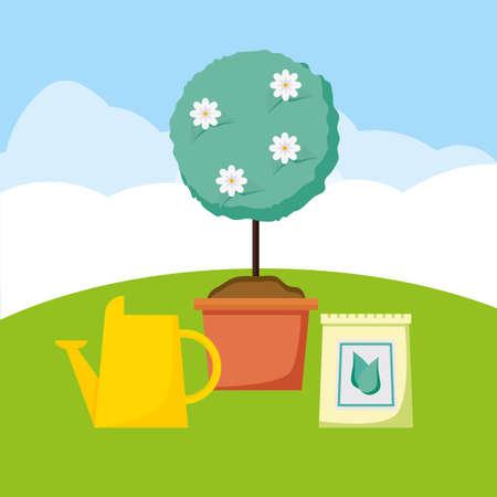 potted tree watering can soil sack plants decoration gardening flat design vector illustration Ilustração