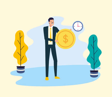 businessman with money coin office work vector illustration Stock fotó - 155008228