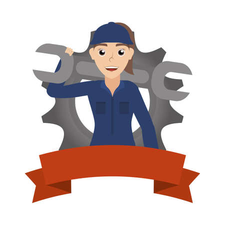 female young mechanic worker with gear and ribbon vector illustration design Stock fotó - 155007844
