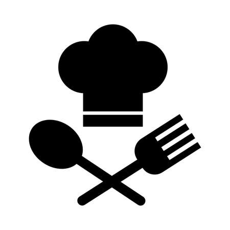 chef hat with fork and spoon silhouette style vector illustration design Stock fotó - 155010900