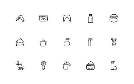 bundle of barber shop set line style icons vector illustration design