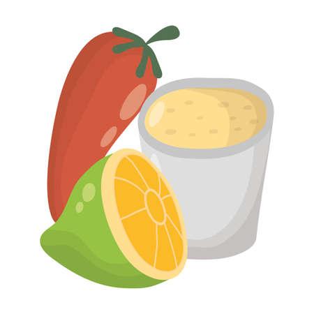 fresh lemon citrus fruit and cup with chili pepper vector illustration design Stock Illustratie