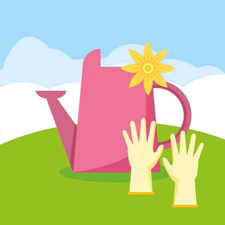 watering can and gloves flower decoration gardening flat design vector illustration