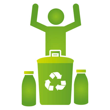 man with bottles and recycle bin eco friendly environment vector illustration Çizim