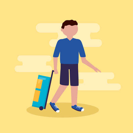 young man with suitcase vacations - people and travel vector illustration