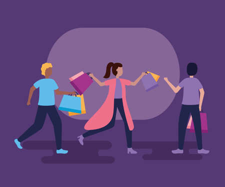 boys and girl with shopping bags vector illustration Ilustração