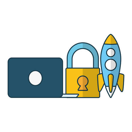 laptop padlock rocket send email vector illustration Illusztráció