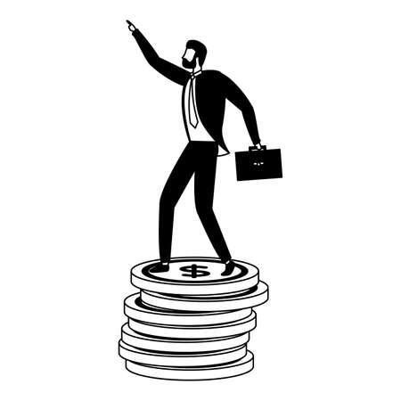 businessman coins money stacked business success vector illustration Stock fotó - 155000087