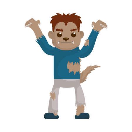 little boy with werewolf costume character vector illustration design Vektorgrafik