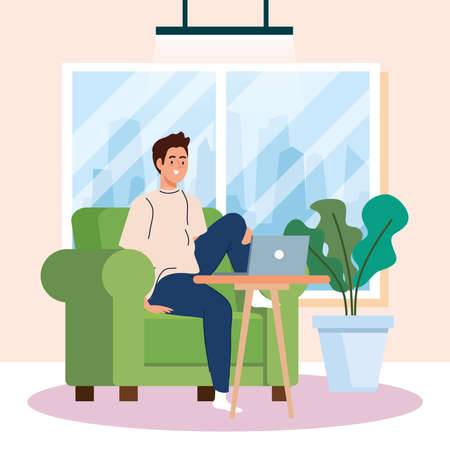 home working, freelancer young man in sofa with laptop, working from home in relaxed pace, convenient workplace vector illustration design