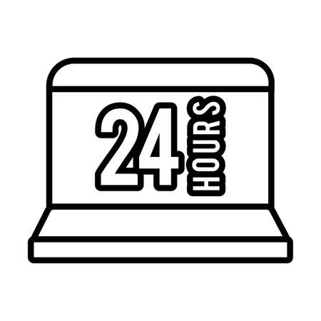 laptop with 24 hours line style icon vector illustration design Çizim