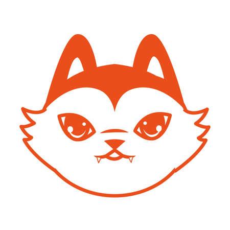 halloween cat mascot head seasonal icon vector illustration design