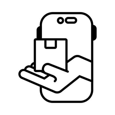 smartphone with box carton delivery service online line vector illustration design