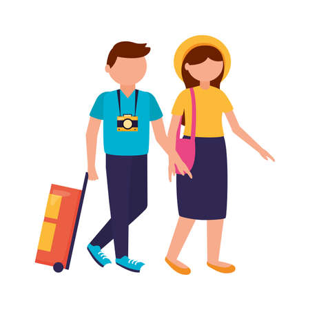 Traveler couple design, trip airport vacation journey holiday transport and voyage theme Vector illustration
