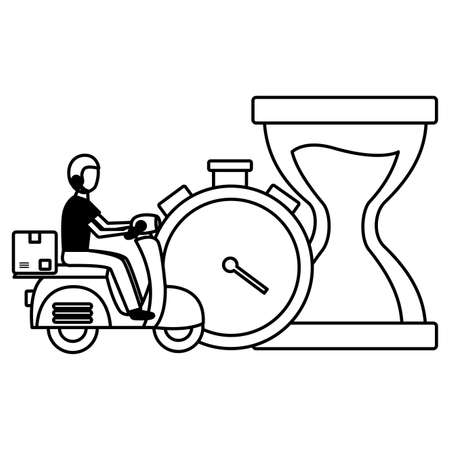 man in motorcycle clock stopwatch time fast delivery logistic vector illustration Illustration
