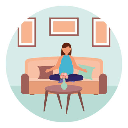 woman pregnancy practicing yoga relaxing maternity scene vector illustration