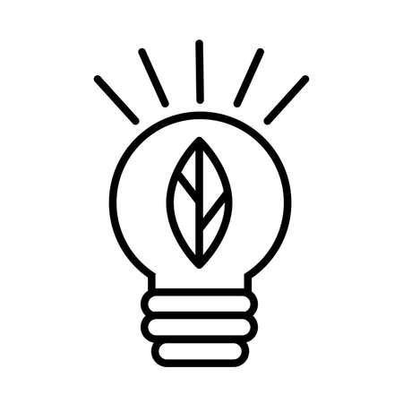 ecology bulb with leaf line style vector illustration design Ilustração