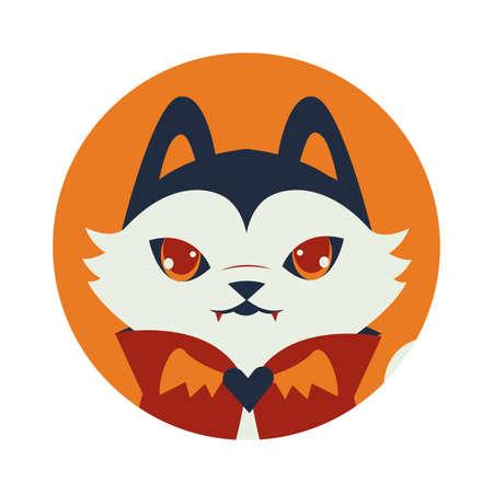 halloween cat mascot with dracula costume vector illustration design