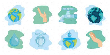 international water day bundle of icons vector illustration design Illusztráció