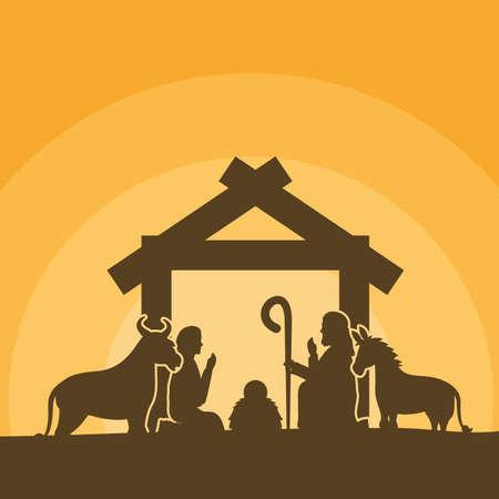 celebration merry christmas manger silhouette  vector illustration 向量圖像
