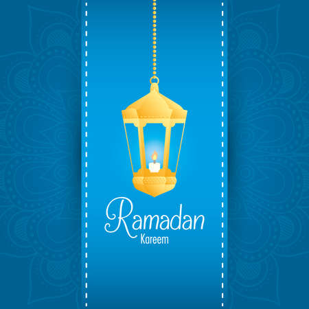 Ramadan kareem card with golden lantern hanging vector illustration design Ilustração