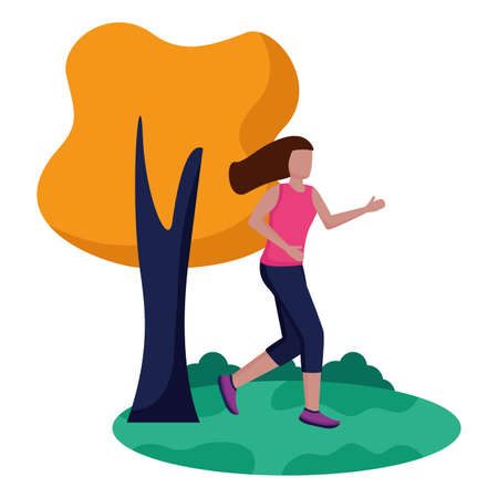 woman practicing running activity in the park vector illustration Zdjęcie Seryjne - 155270106
