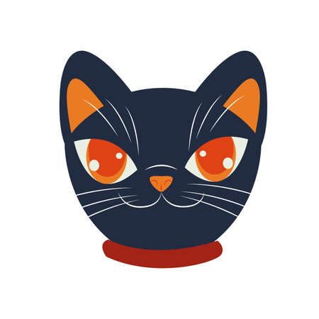 halloween cat mascot head seasonal icon vector illustration design 向量圖像