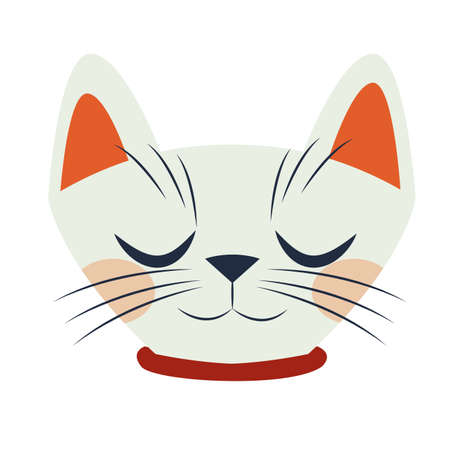 halloween cat mascot head seasonal icon vector illustration design  イラスト・ベクター素材