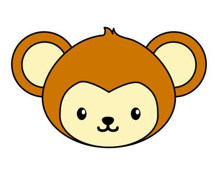 cute little monkey head baby character vector illustration design 向量圖像