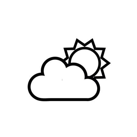 summer sun with cloud line style icon vector illustration design